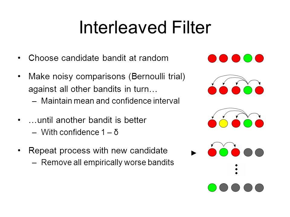 Interleaved Filter Choose candidate bandit at random