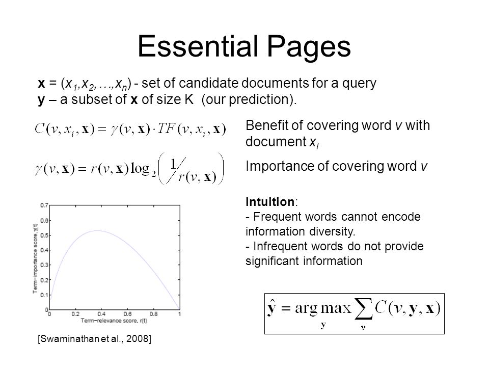 Essential Pages x = (x1,x2,…,xn) - set of candidate documents for a query. y – a subset of x of size K (our prediction).