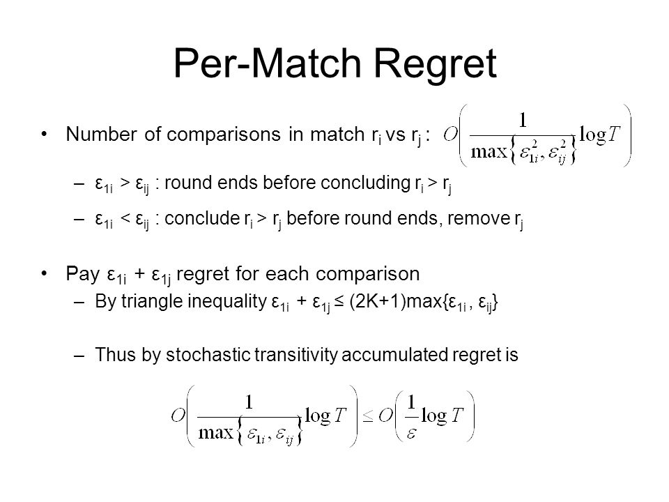 Per-Match Regret Number of comparisons in match ri vs rj :