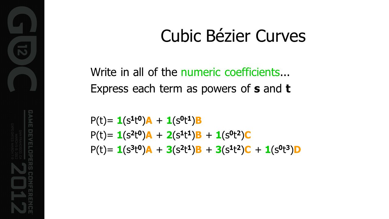 Cubic Bézier Curves Write in all of the numeric coefficients...