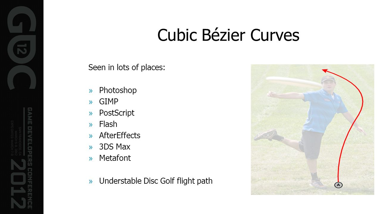 Cubic Bézier Curves Seen in lots of places: Photoshop GIMP PostScript