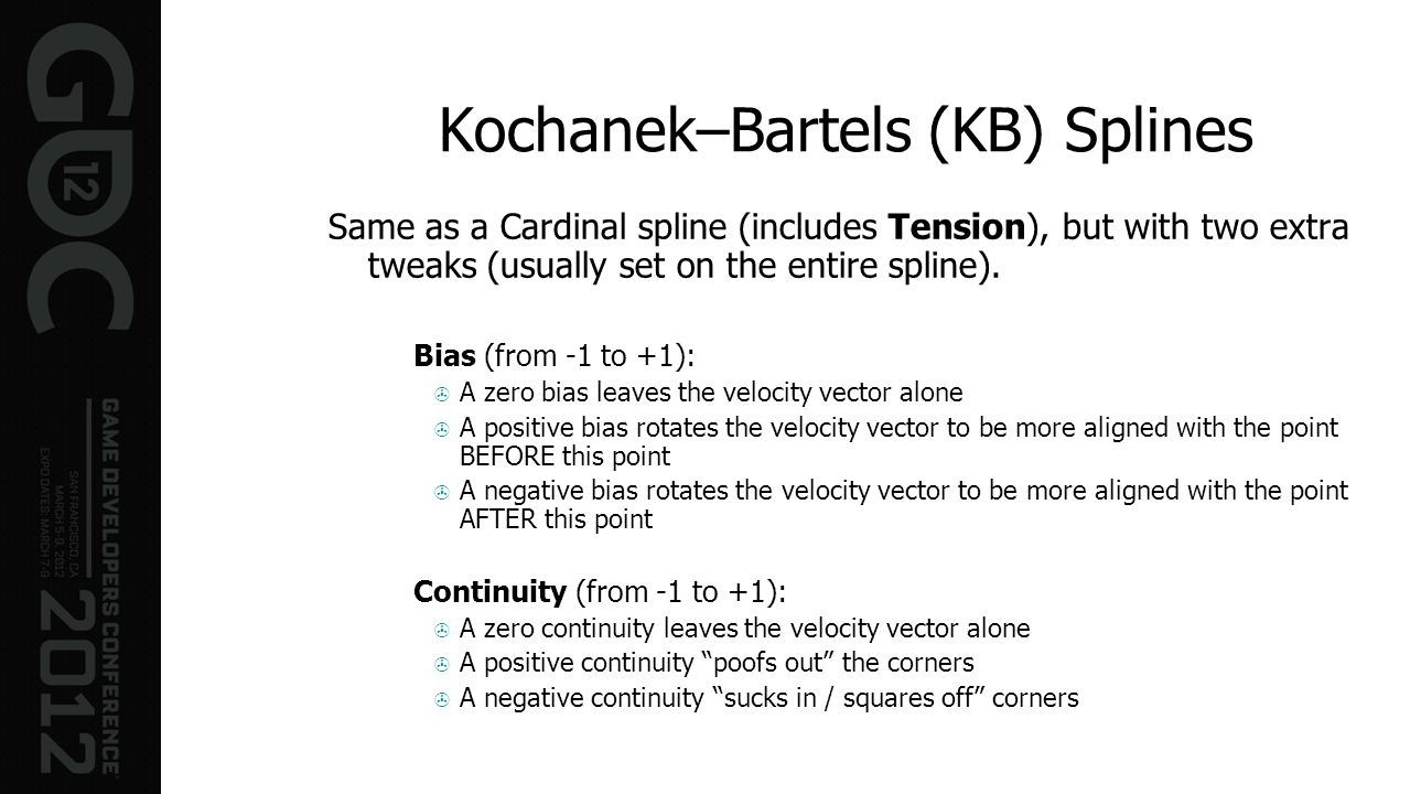 Kochanek–Bartels (KB) Splines