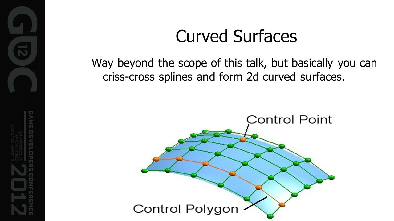Curved SurfacesWay beyond the scope of this talk, but basically you can criss-cross splines and form 2d curved surfaces.