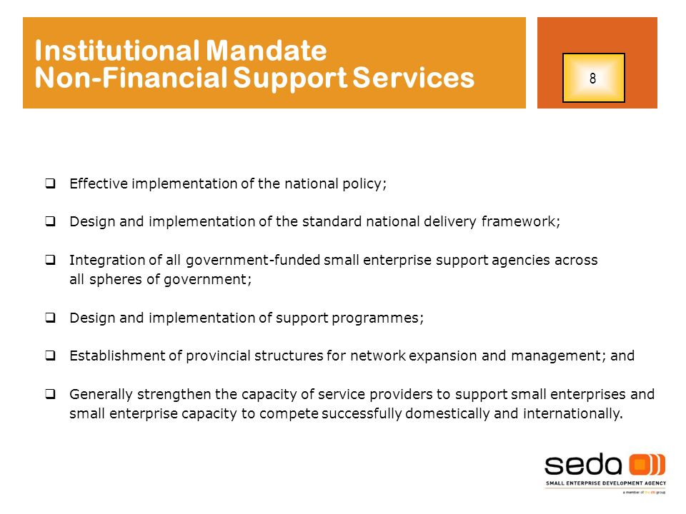 Institutional Mandate Non-Financial Support Services