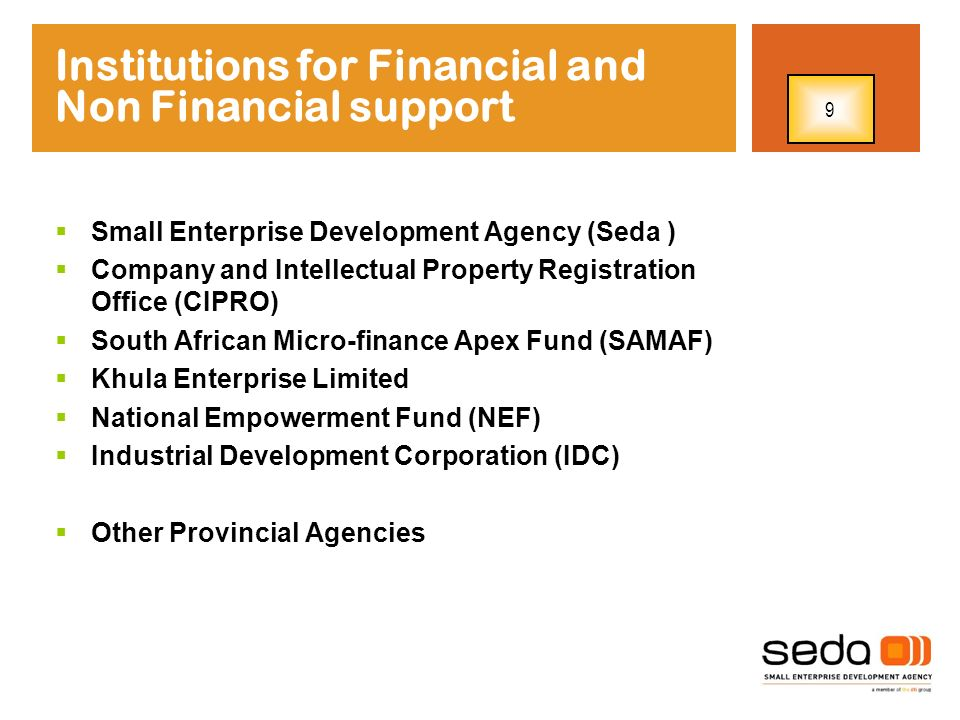 Institutions for Financial and Non Financial support