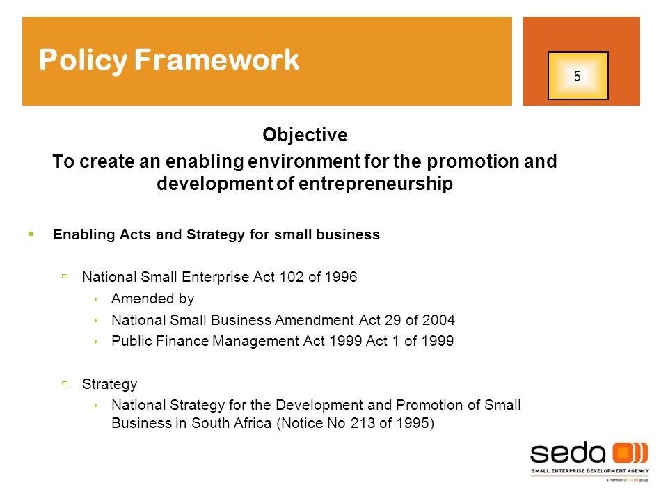 Policy Framework Objective