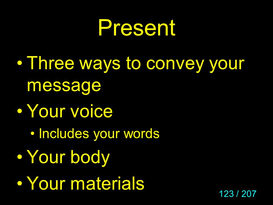 Present Three ways to convey your message Your voice Your body