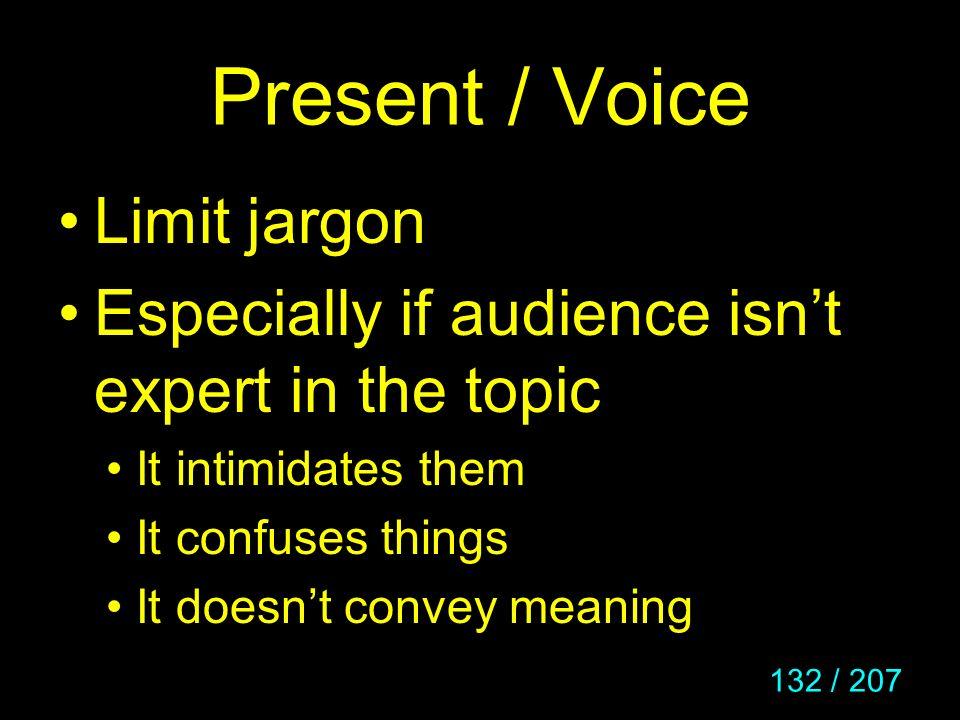 Present / Voice Limit jargon