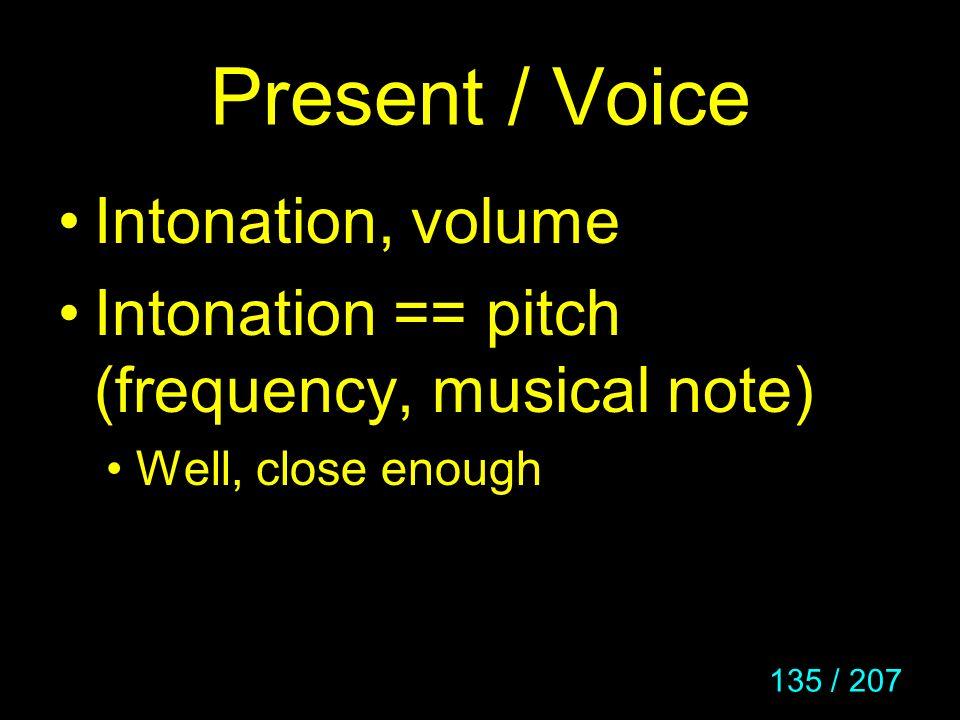 Present / Voice Intonation, volume