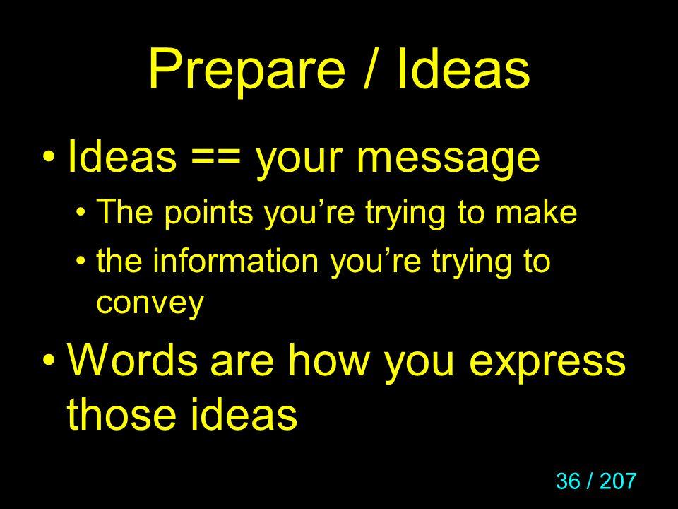 Prepare / Ideas Ideas == your message
