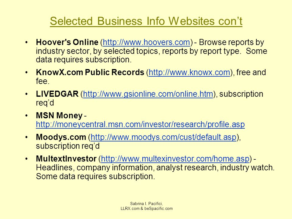 Selected Business Info Websites con't