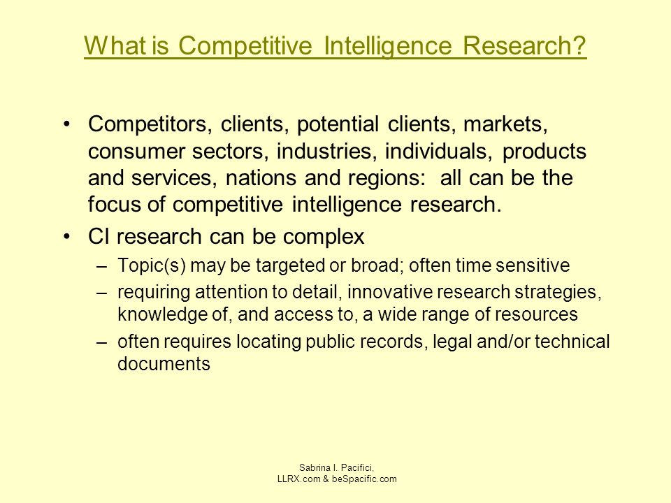 What is Competitive Intelligence Research