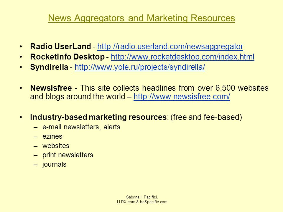 News Aggregators and Marketing Resources