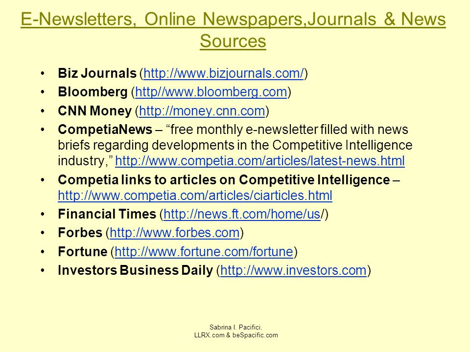 E-Newsletters, Online Newspapers,Journals & News Sources