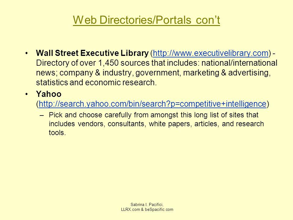 Web Directories/Portals con't