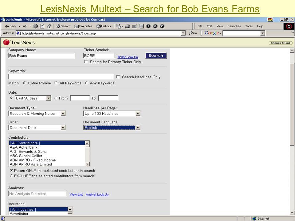 LexisNexis Multext – Search for Bob Evans Farms