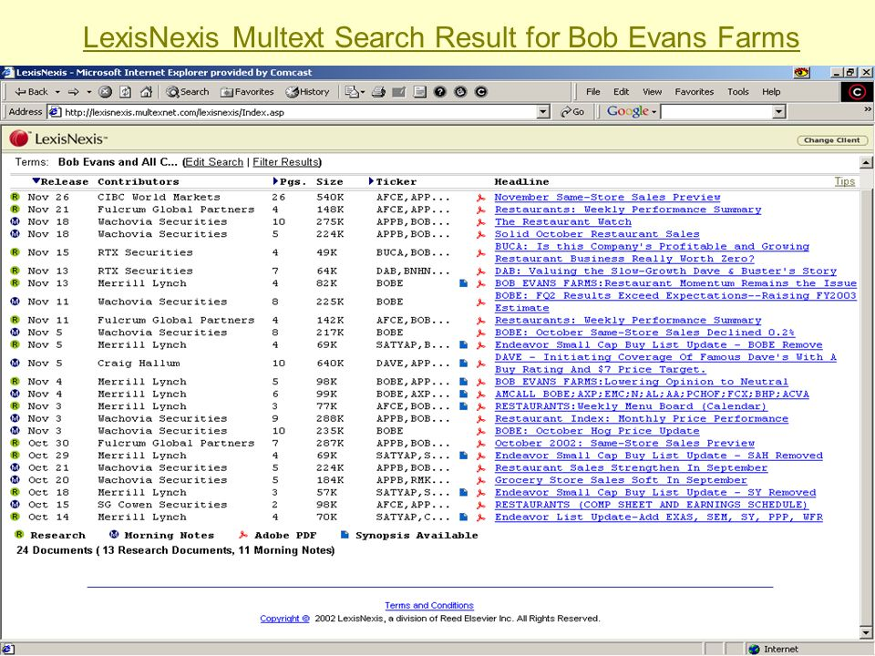 LexisNexis Multext Search Result for Bob Evans Farms