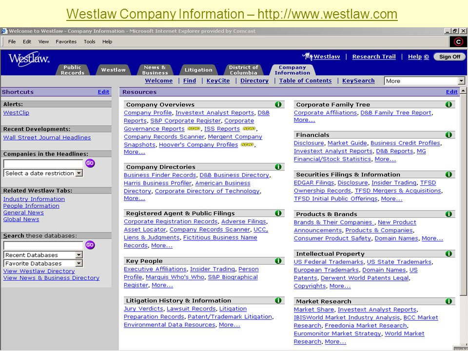 Westlaw Company Information – http://www.westlaw.com