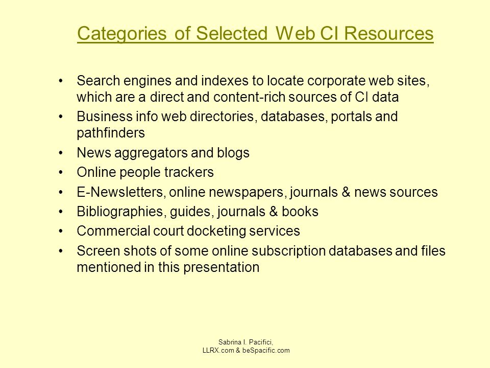 Categories of Selected Web CI Resources