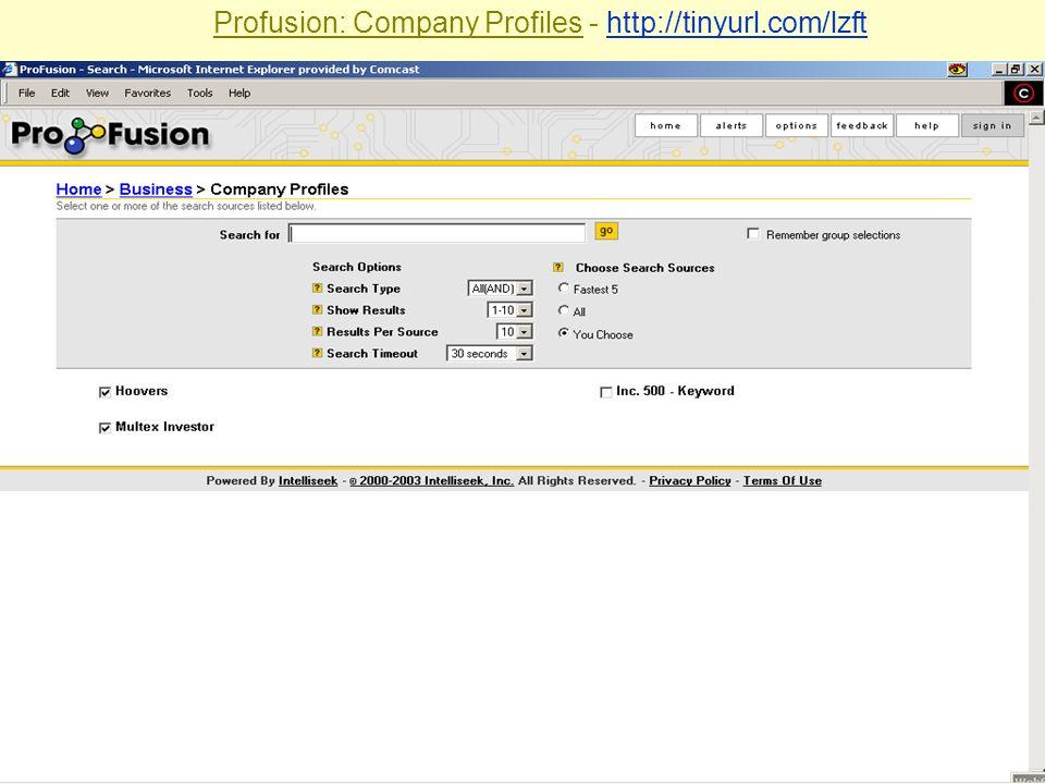 Profusion: Company Profiles - http://tinyurl.com/lzft