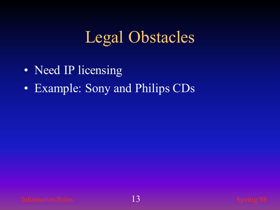 Legal Obstacles Need IP licensing Example: Sony and Philips CDs