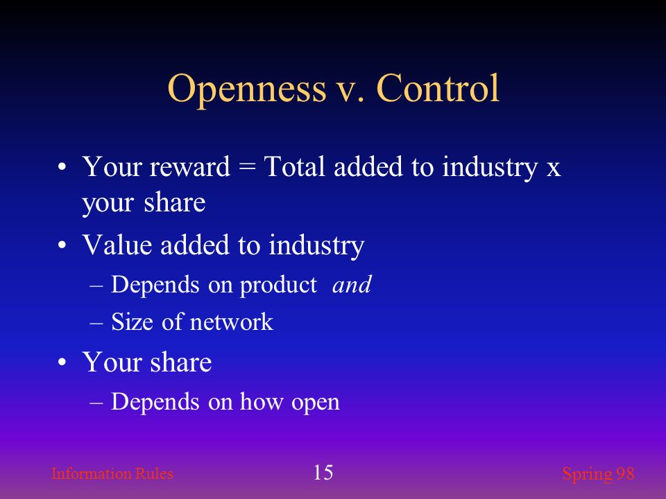 Openness v. Control Your reward = Total added to industry x your share