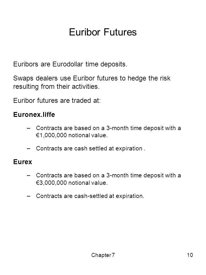 Euribor Futures Euribors are Eurodollar time deposits.