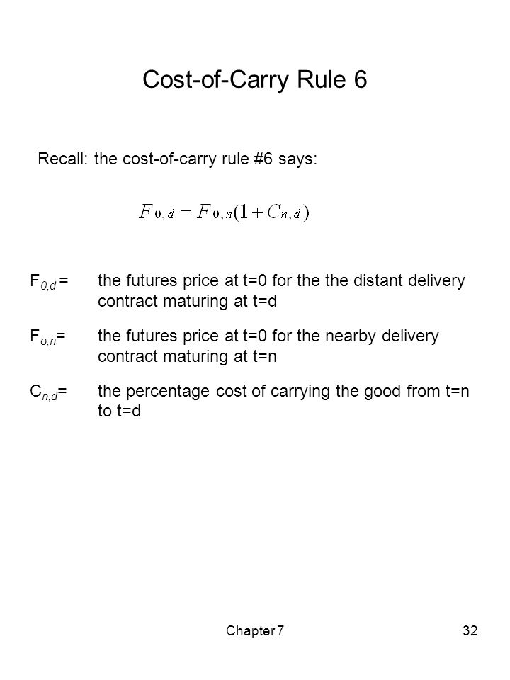 Cost-of-Carry Rule 6 Recall: the cost-of-carry rule #6 says: