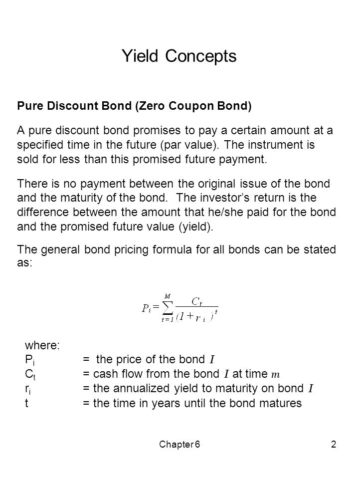 Yield Concepts Pure Discount Bond (Zero Coupon Bond)