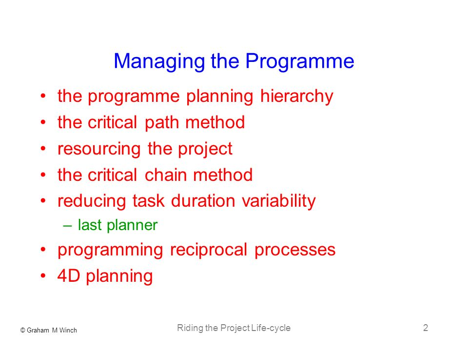 Managing the Programme