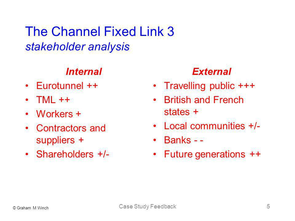 The Channel Fixed Link 3 stakeholder analysis