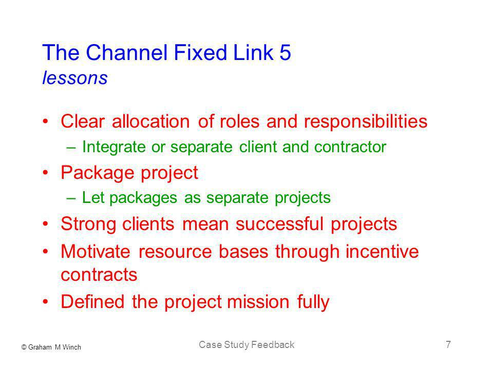 The Channel Fixed Link 5 lessons