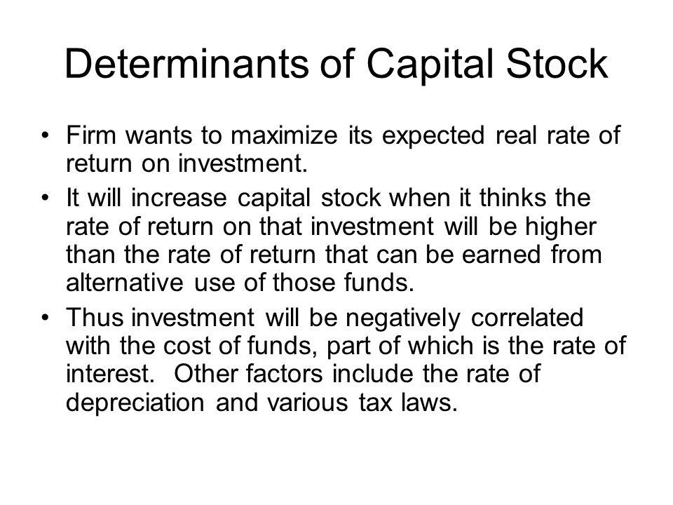 Determinants of Capital Stock