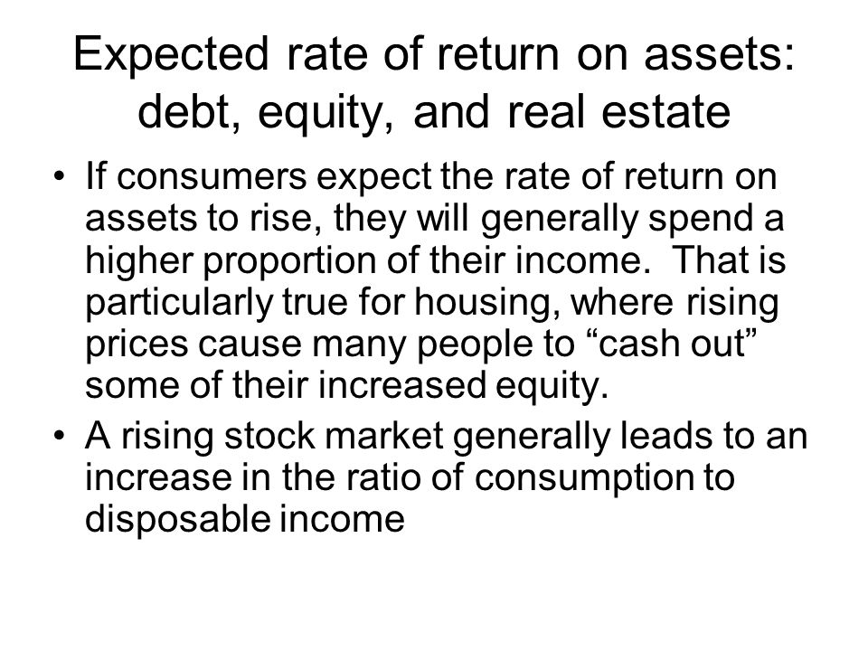 Expected rate of return on assets: debt, equity, and real estate