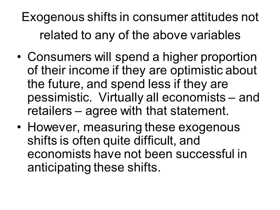 Exogenous shifts in consumer attitudes not related to any of the above variables
