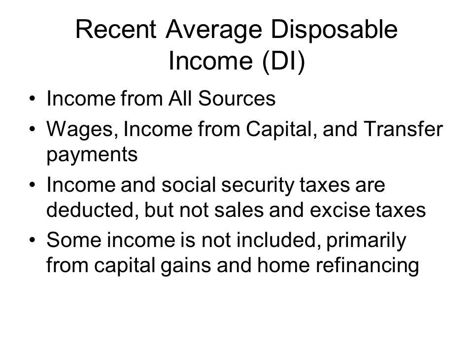Recent Average Disposable Income (DI)