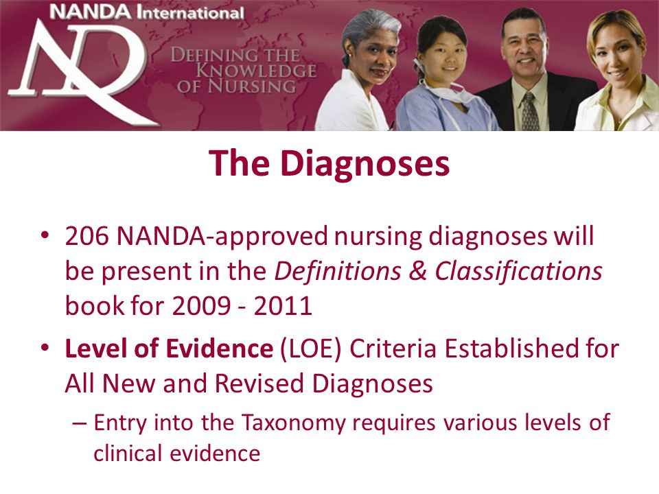 The Diagnoses 206 NANDA-approved nursing diagnoses will be present in the Definitions & Classifications book for 2009 - 2011.