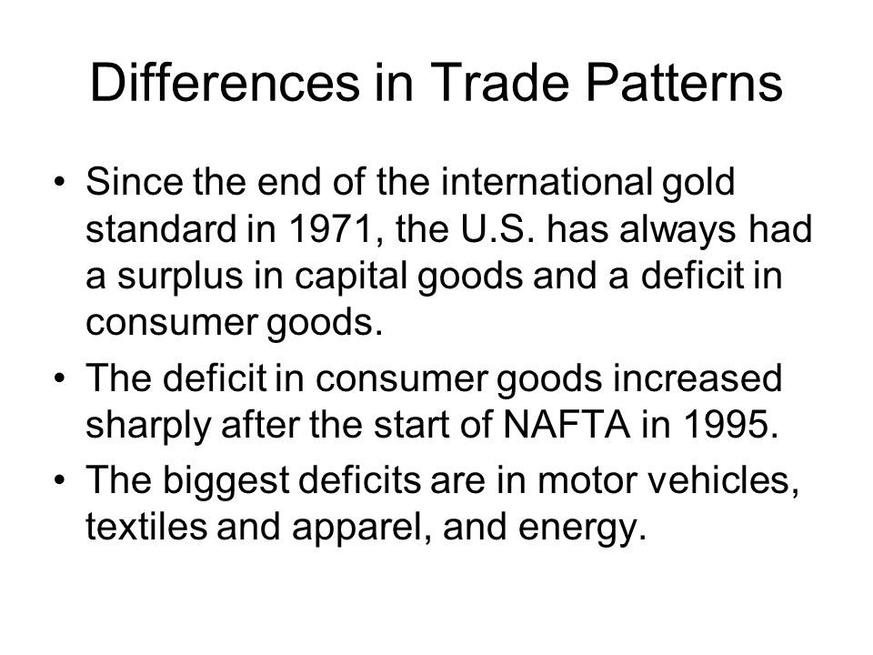 Differences in Trade Patterns