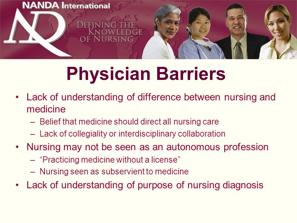 Physician Barriers Lack of understanding of difference between nursing and medicine. Belief that medicine should direct all nursing care.