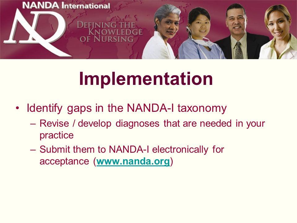 Implementation Identify gaps in the NANDA-I taxonomy