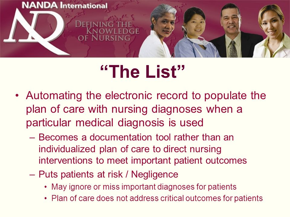 The List Automating the electronic record to populate the plan of care with nursing diagnoses when a particular medical diagnosis is used.