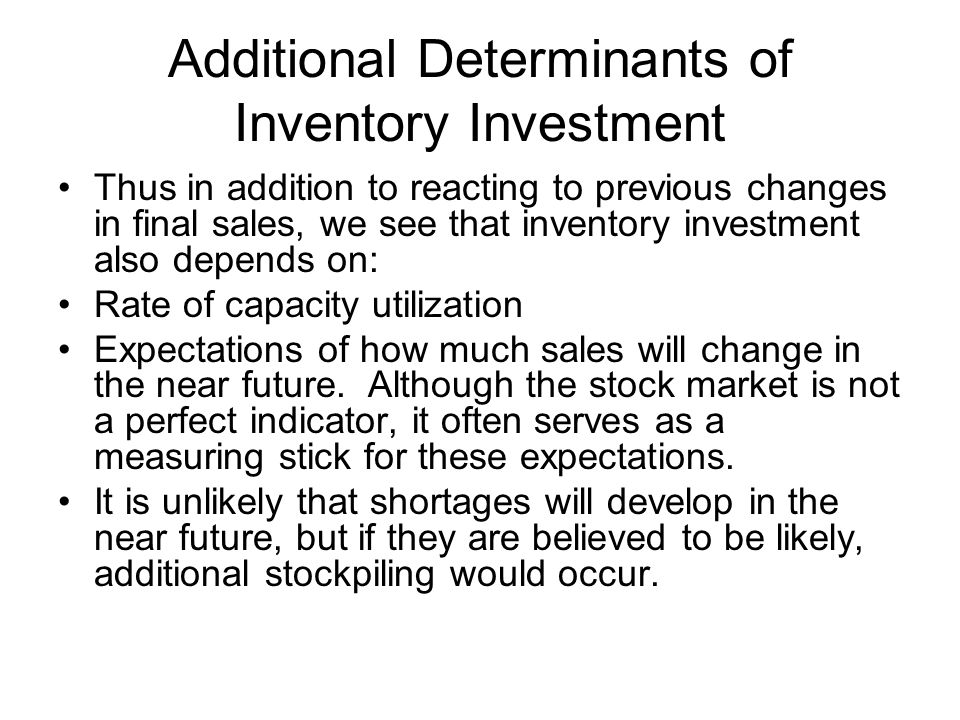 Additional Determinants of Inventory Investment