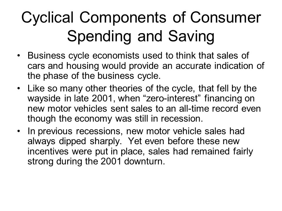 Cyclical Components of Consumer Spending and Saving