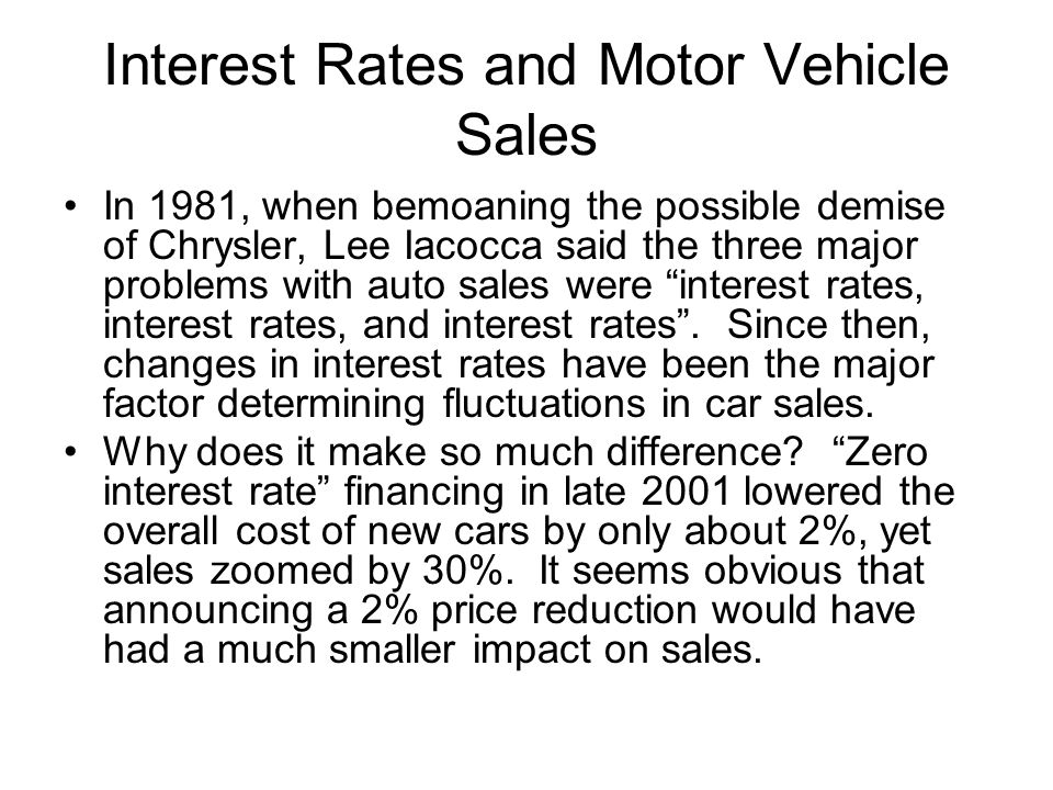 Interest Rates and Motor Vehicle Sales