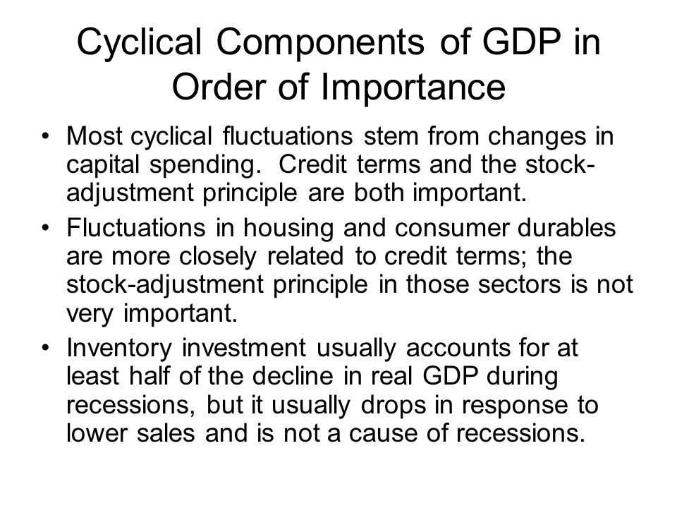 Cyclical Components of GDP in Order of Importance