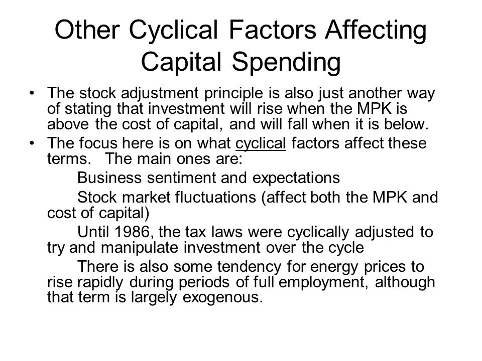 Other Cyclical Factors Affecting Capital Spending