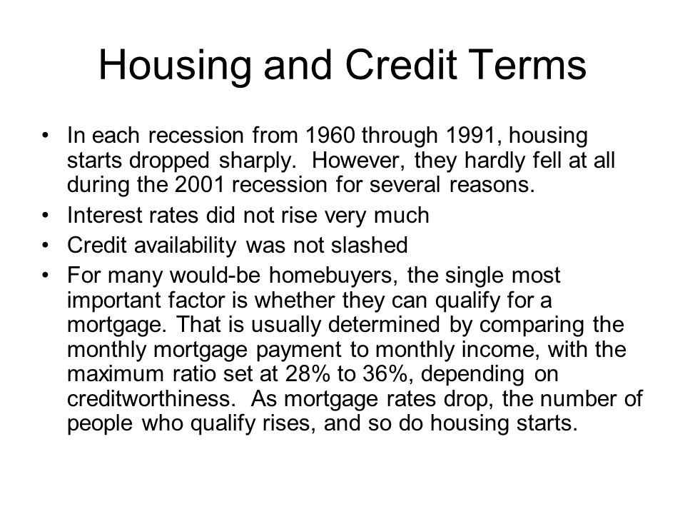 Housing and Credit Terms