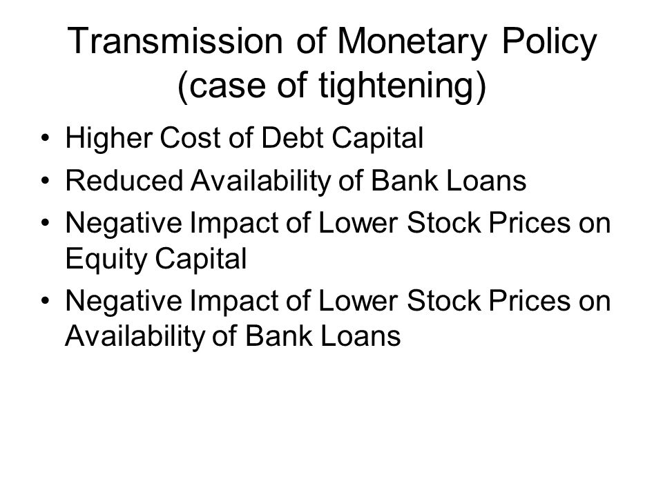 Transmission of Monetary Policy (case of tightening)
