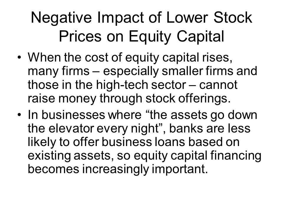 Negative Impact of Lower Stock Prices on Equity Capital