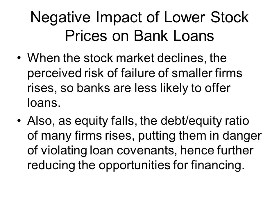 Negative Impact of Lower Stock Prices on Bank Loans